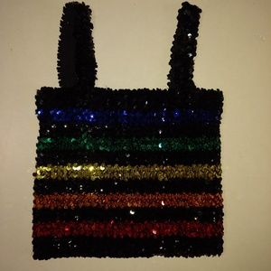 True 70's rainbow sequence tube top